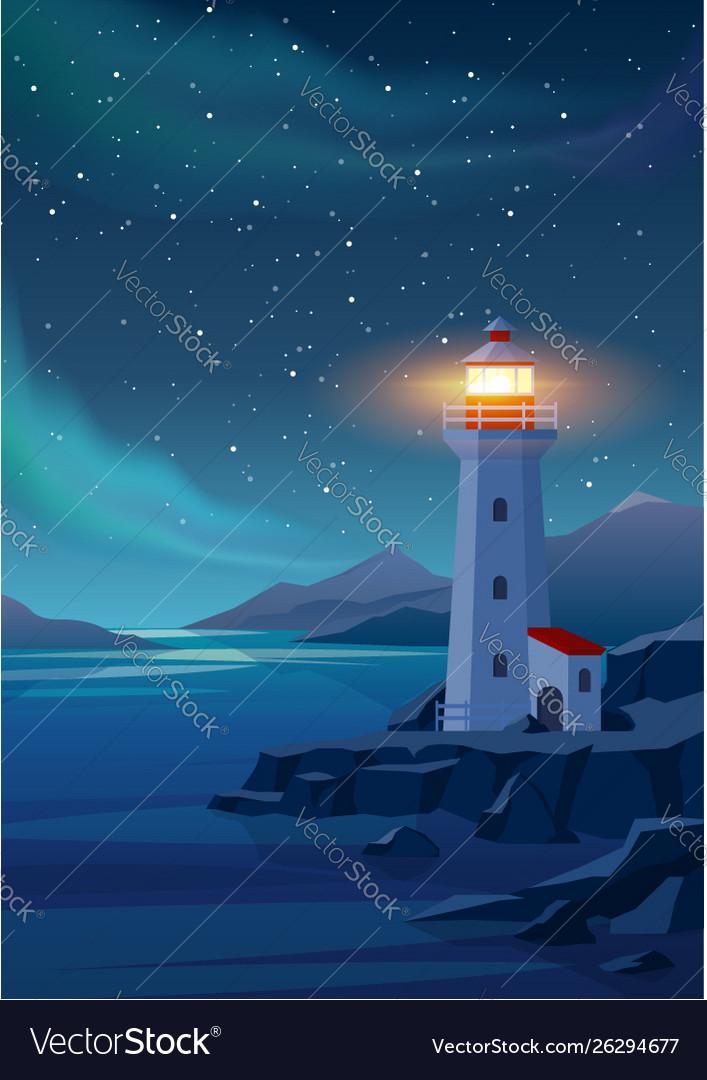 Lighthouse in night sea