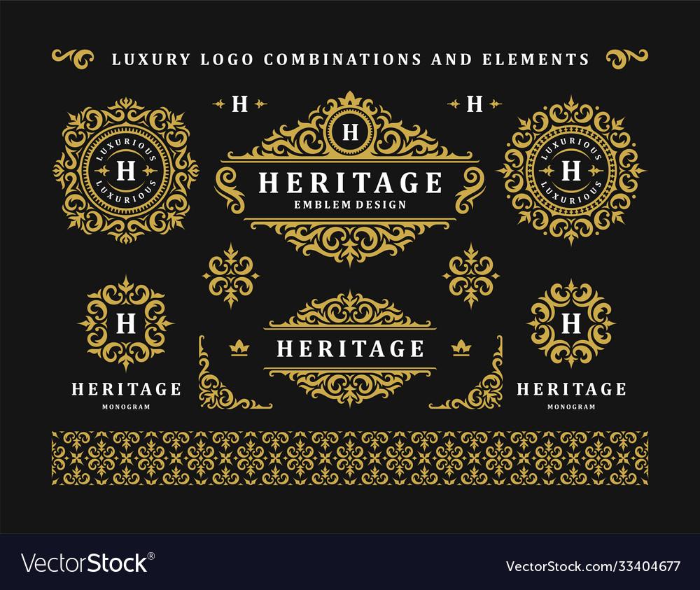 Luxury logo vintage ornament monograms and crest
