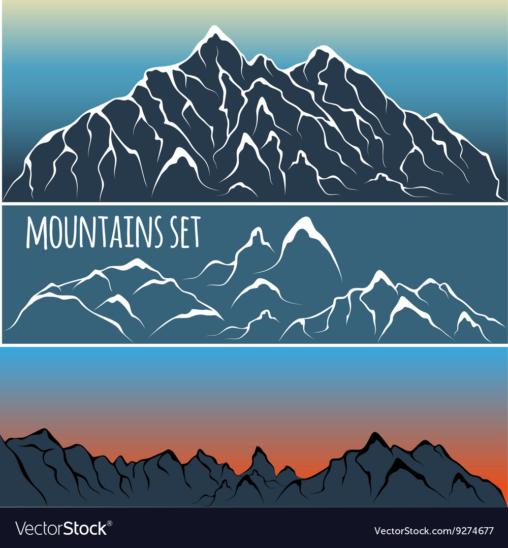 Mountain range set vector image