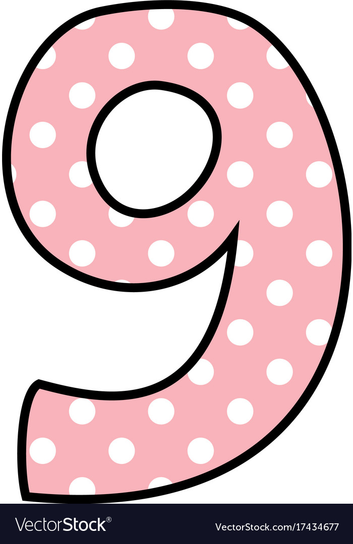 Number 9 with white polka dots on pastel pink