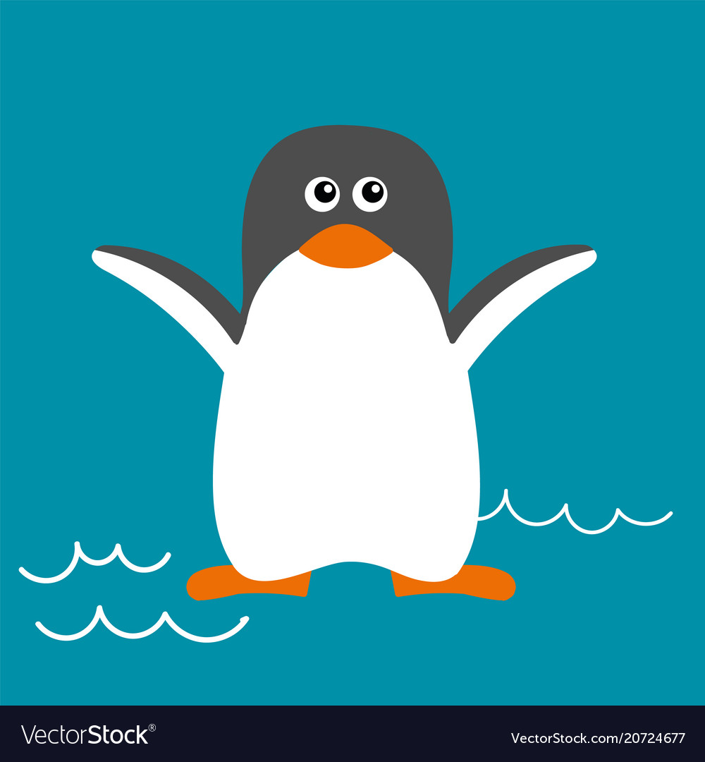 Penguin in flat style