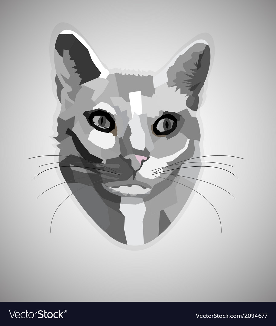 pop art grayscale cat royalty free vector image