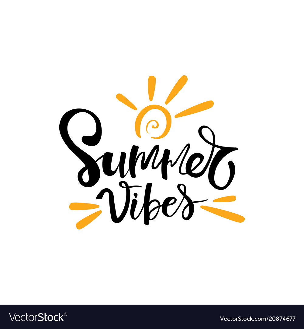 Summer vibes typographic inscription on white