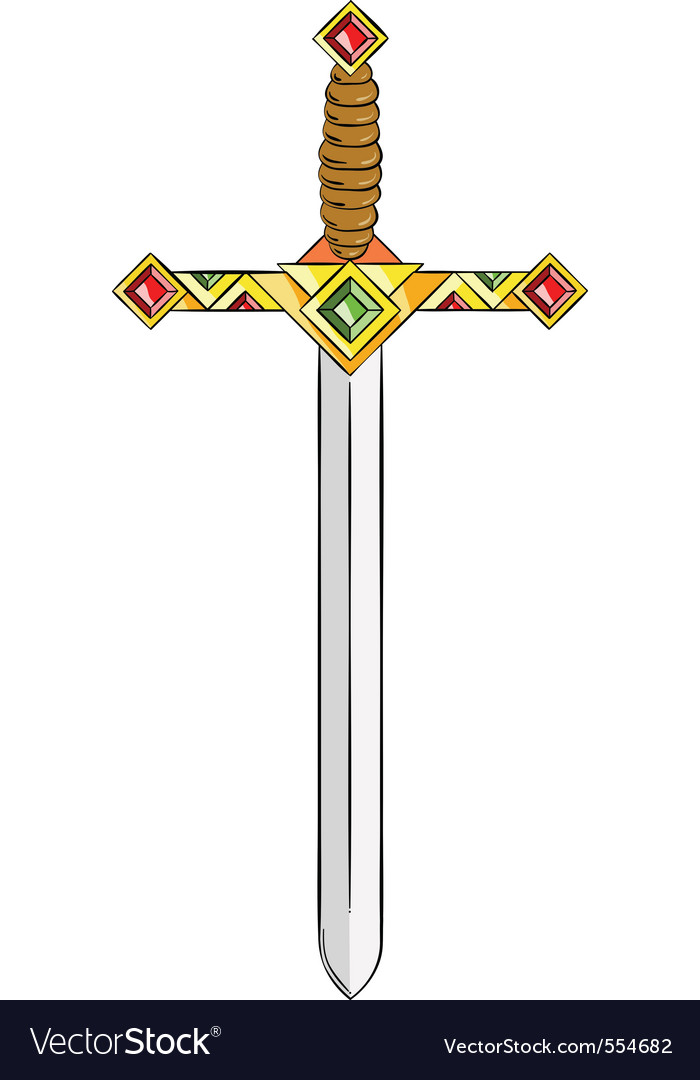 Ancient gold sword isolated on the white