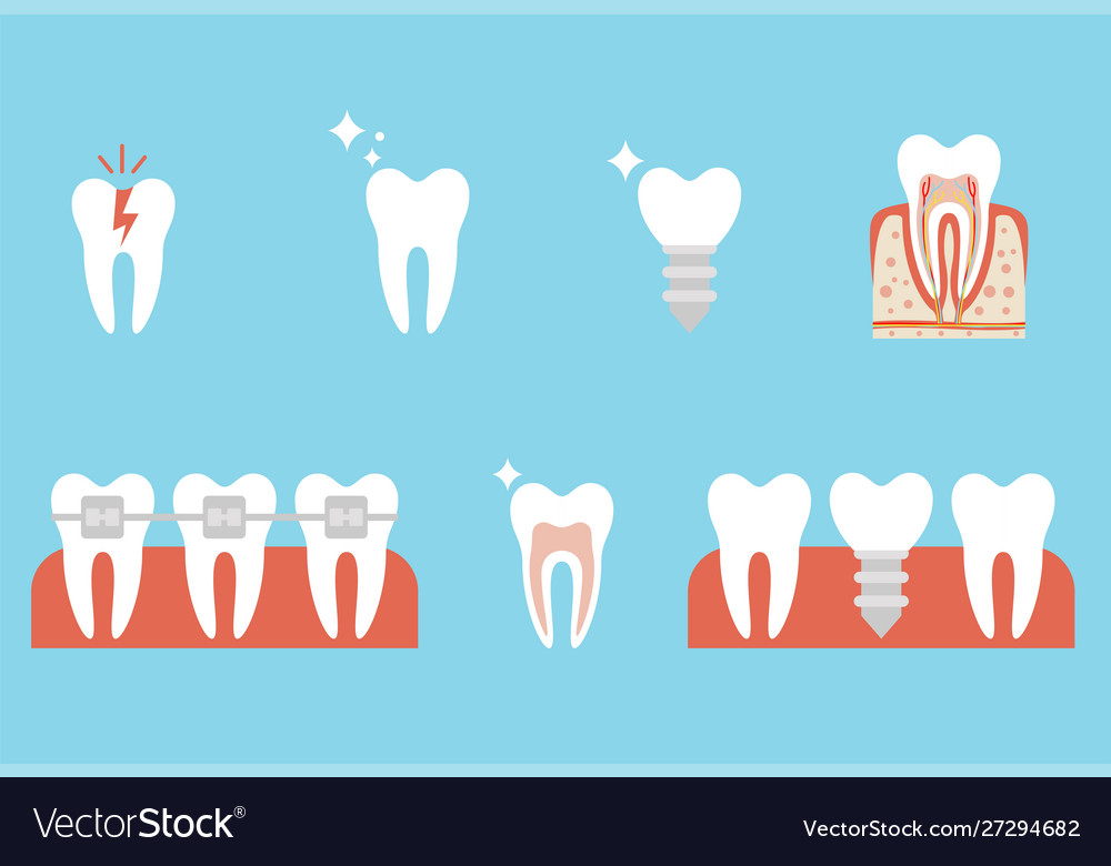Correction teeth with orthodontic braces tooth