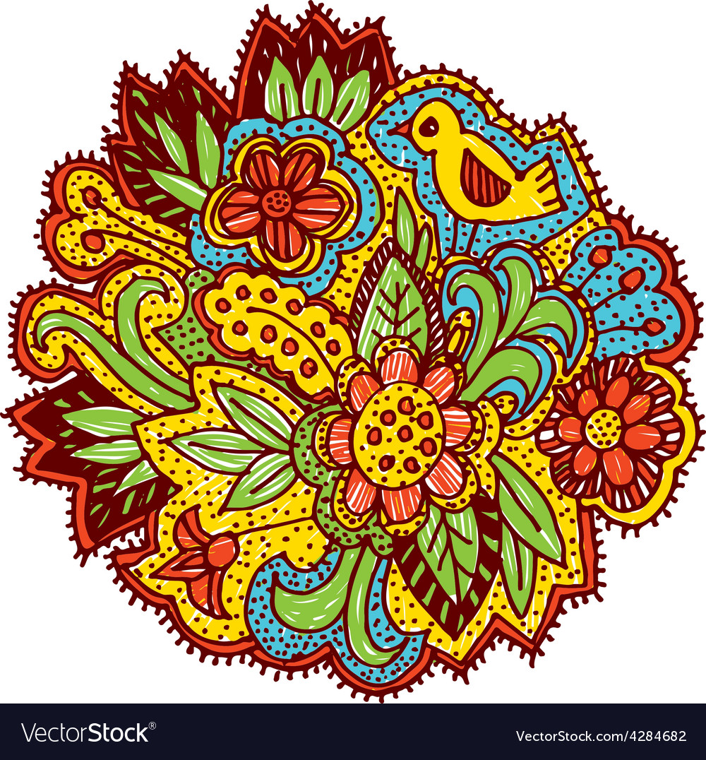 Doodle with flowers and birds Brown yellow blue vector image