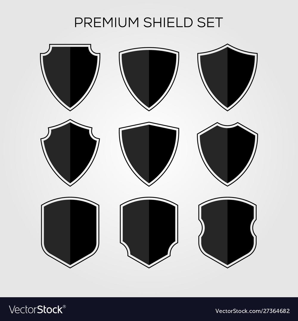 Flat shield set geometric premium logo icon