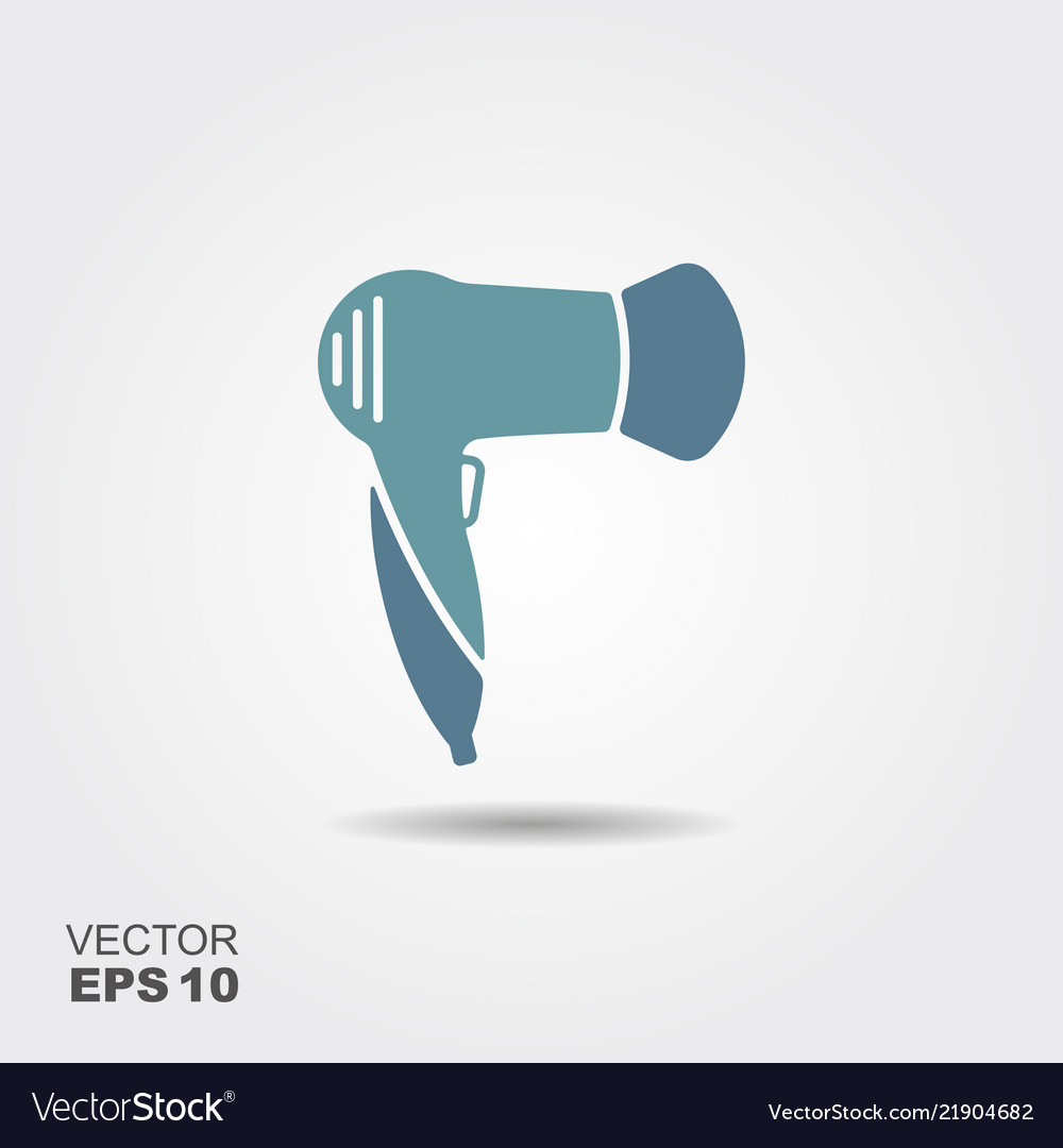 Hairdryer icon in flat style isolated on grey