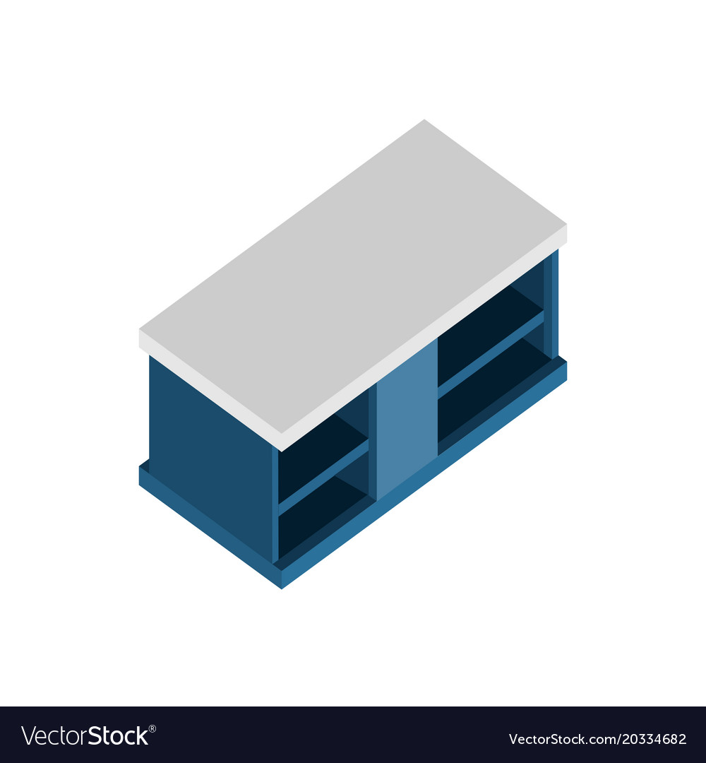 Living room blue cabinet isometric furniture