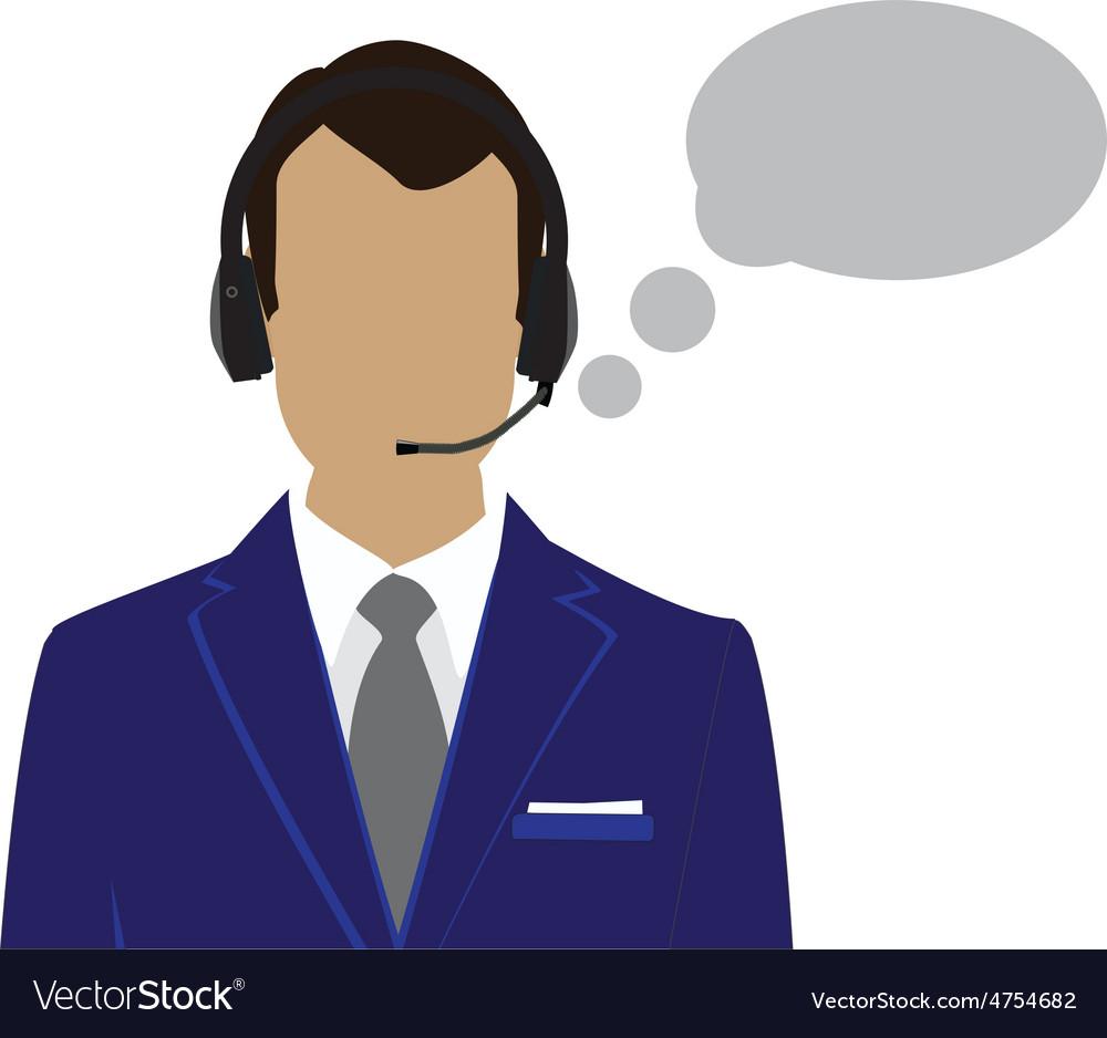 Male call center avatar vector image