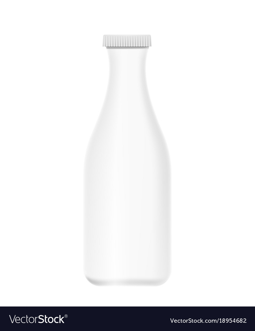 Mockup white plastic bottle of yogurt milk vector image