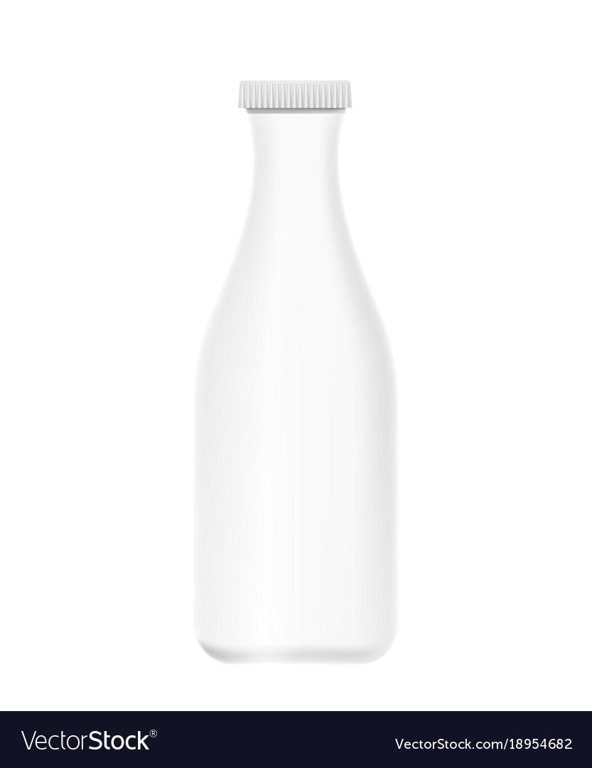 Mockup white plastic bottle of yogurt milk