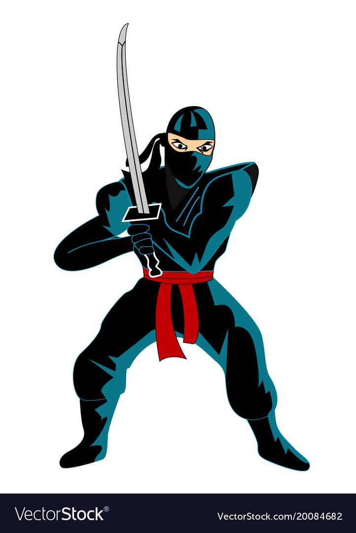 Ninja over white background