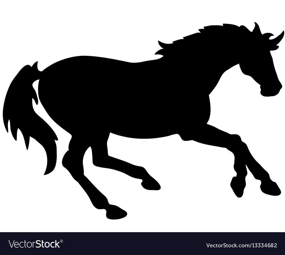 Rearing horse fine silhouette - black over