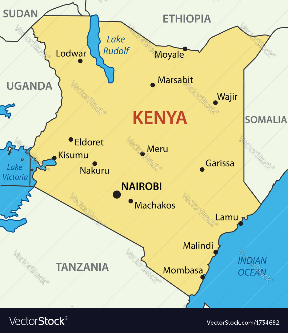republic of kenya map vector image