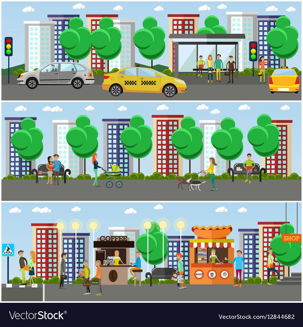 Set of street traffic concept design vector image
