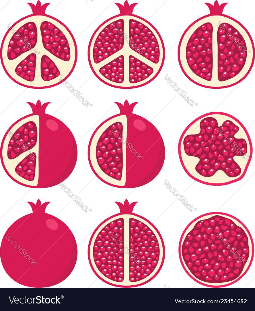 Set of stylized pomegranates
