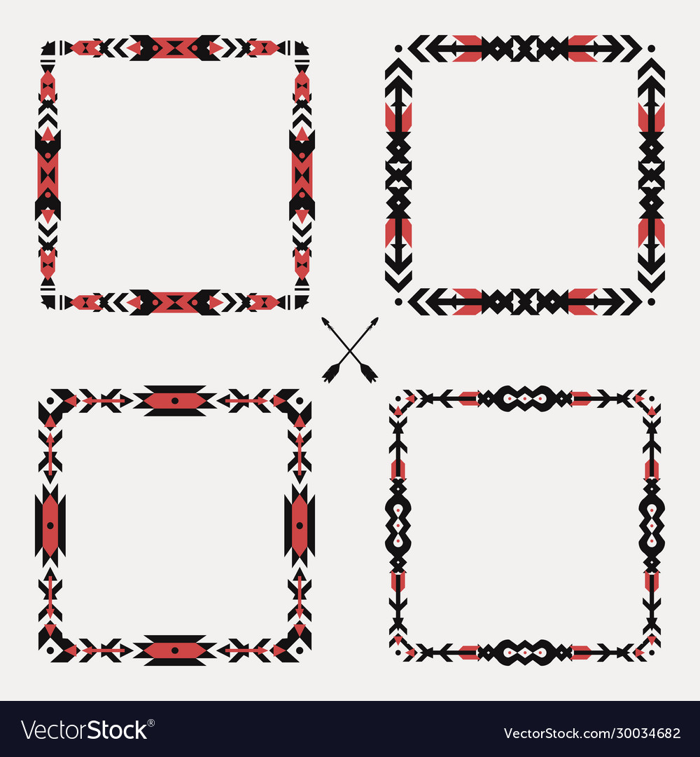 Set with abstract geometric ethnic frames tribal