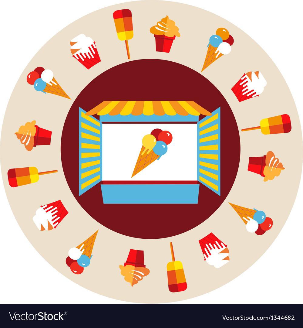 Shop window of ice cream vector image