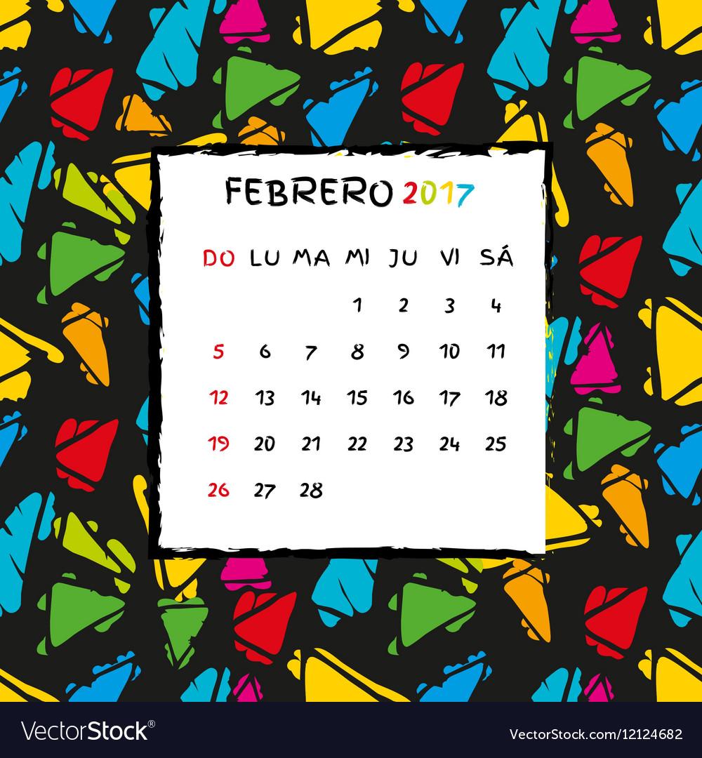 Spanish Calendar 2017 Template Royalty Free Vector Image