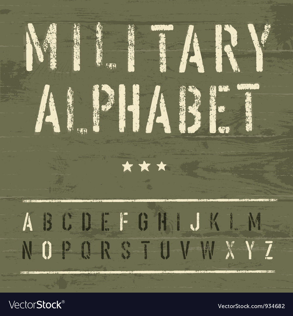 Vintage military alphabet