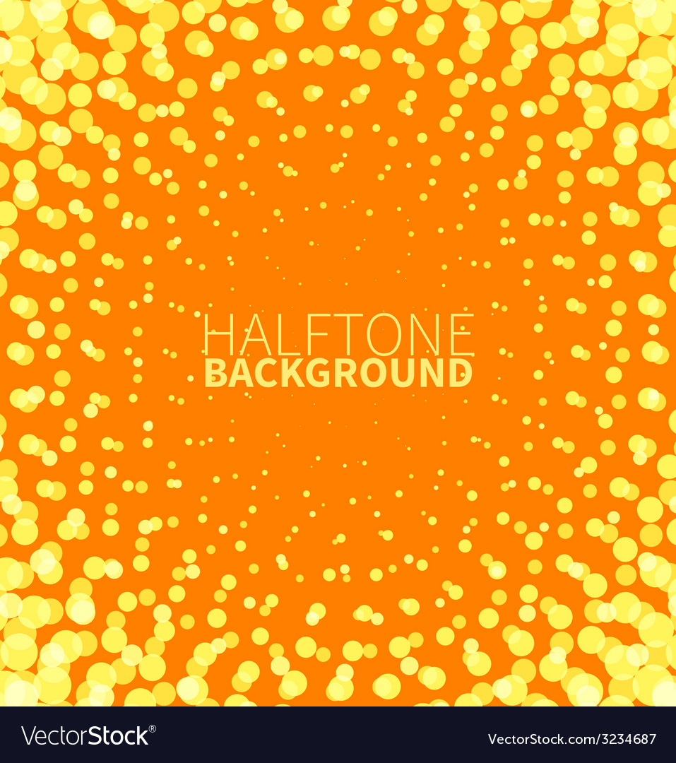 Abstract orange halftone background with yellow vector image