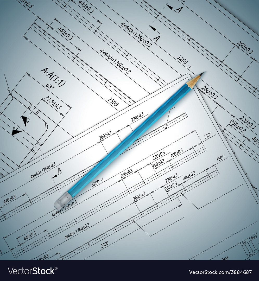 Industrial drawing detail and several drawing vector image