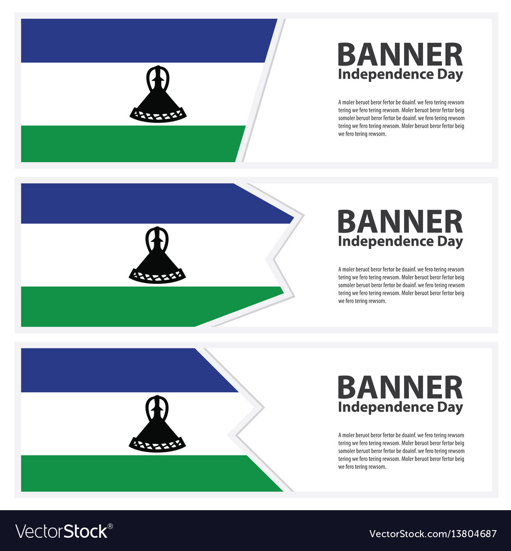 Lesotho flag banners collection independence day