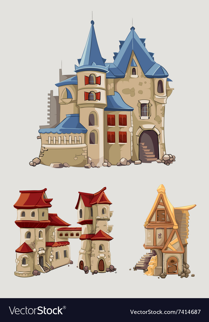 Medieval castles and buildings set in vector image