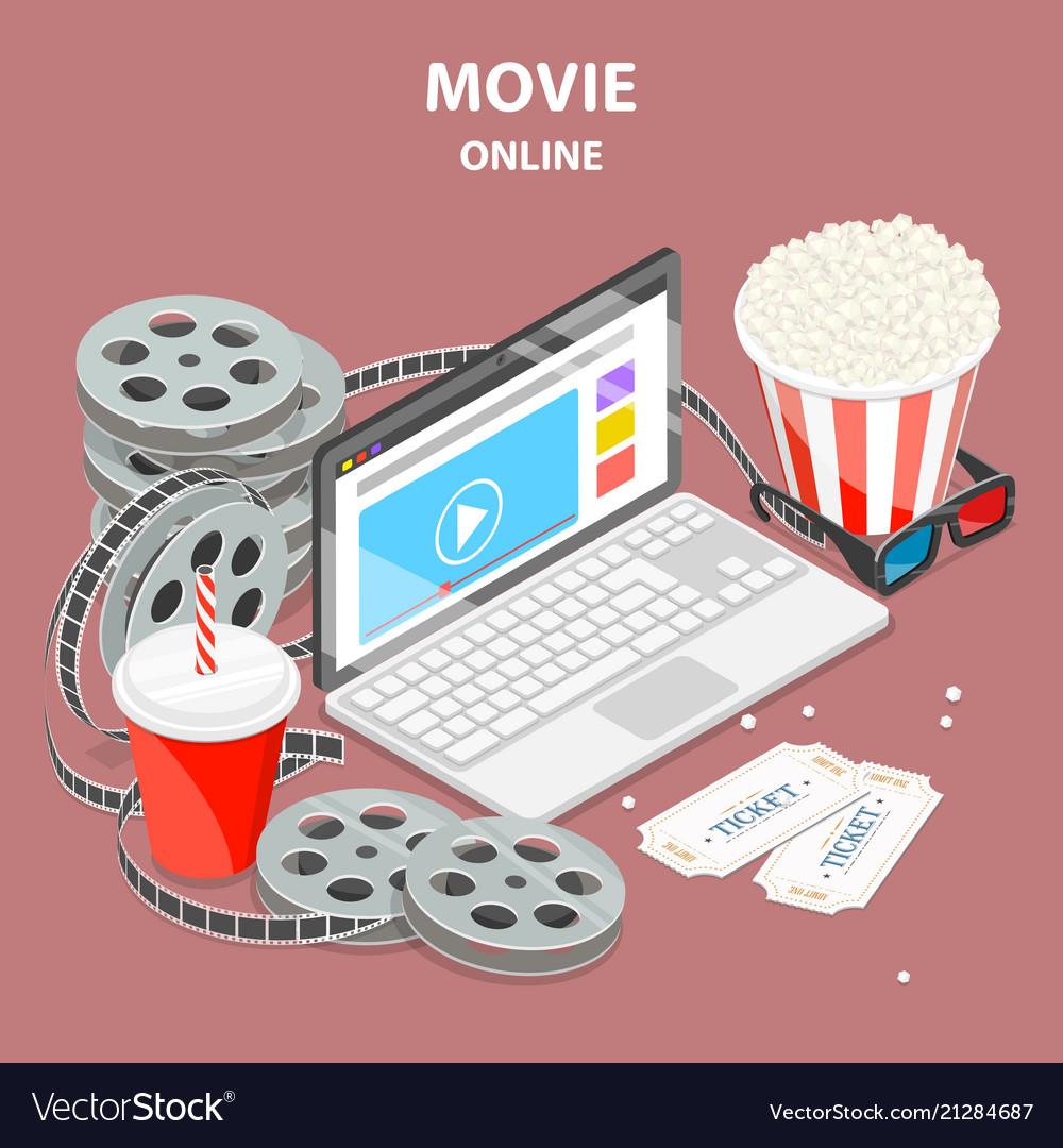 Online movie flat isometric concept