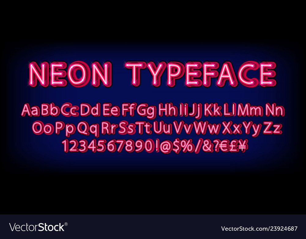 Red neon character font set