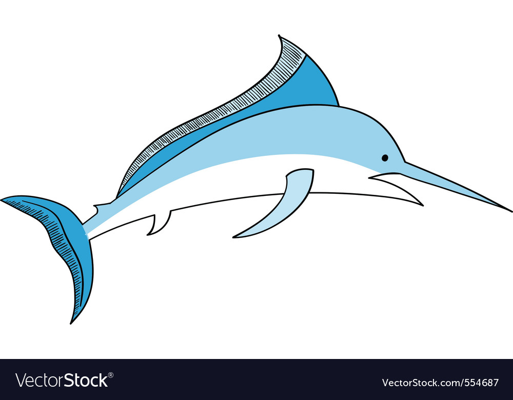 Simple swordfish isolated on the white