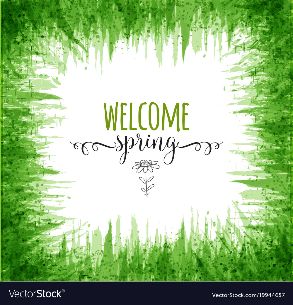 Typography composition with welcome spring words