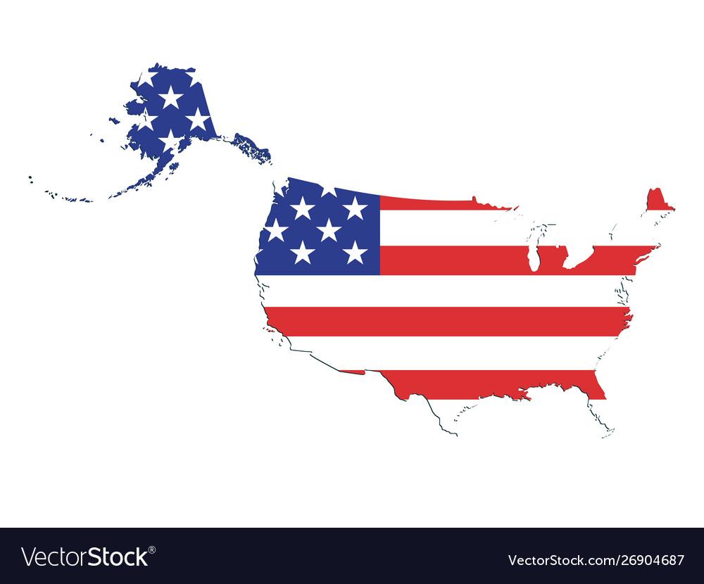 Usa Flag Map Royalty Free Vector Image