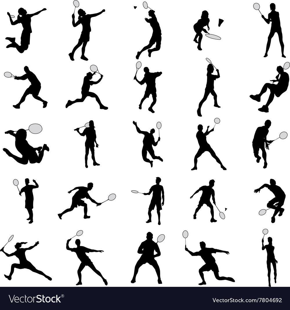 Badminton silhouette set vector image