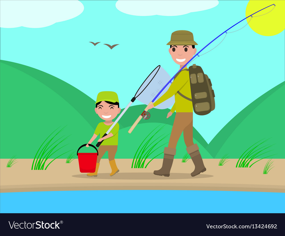 Cartoon father and son go on fishing trip