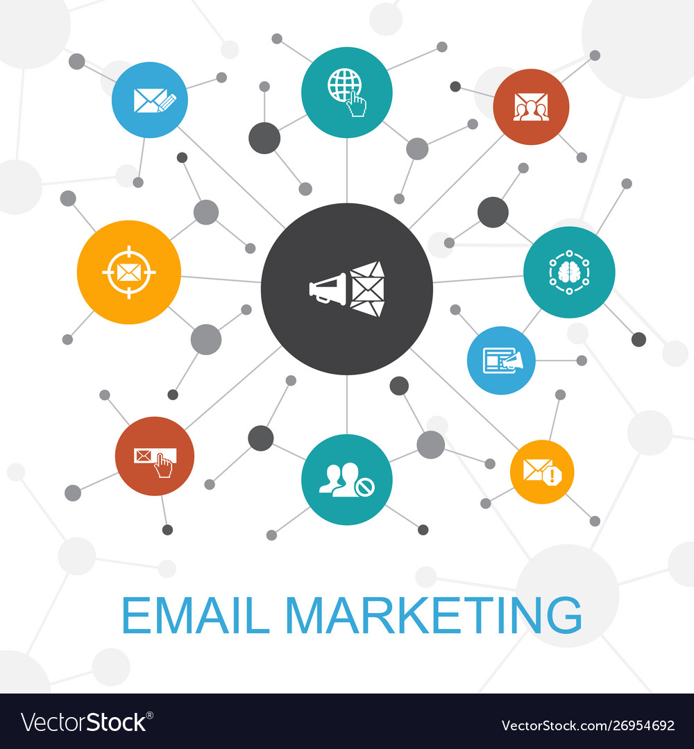 Email marketing trendy web concept with icons