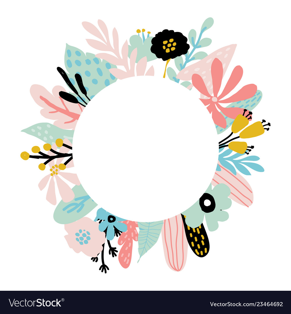 Floral Frame With Blue And Pink Leaves Royalty Free Vector