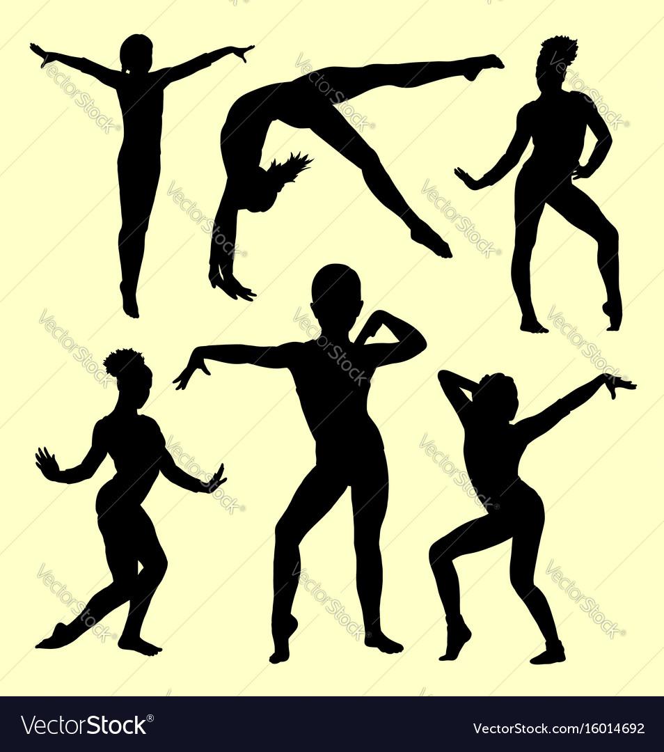 Gymnastic girl silhouette vector image