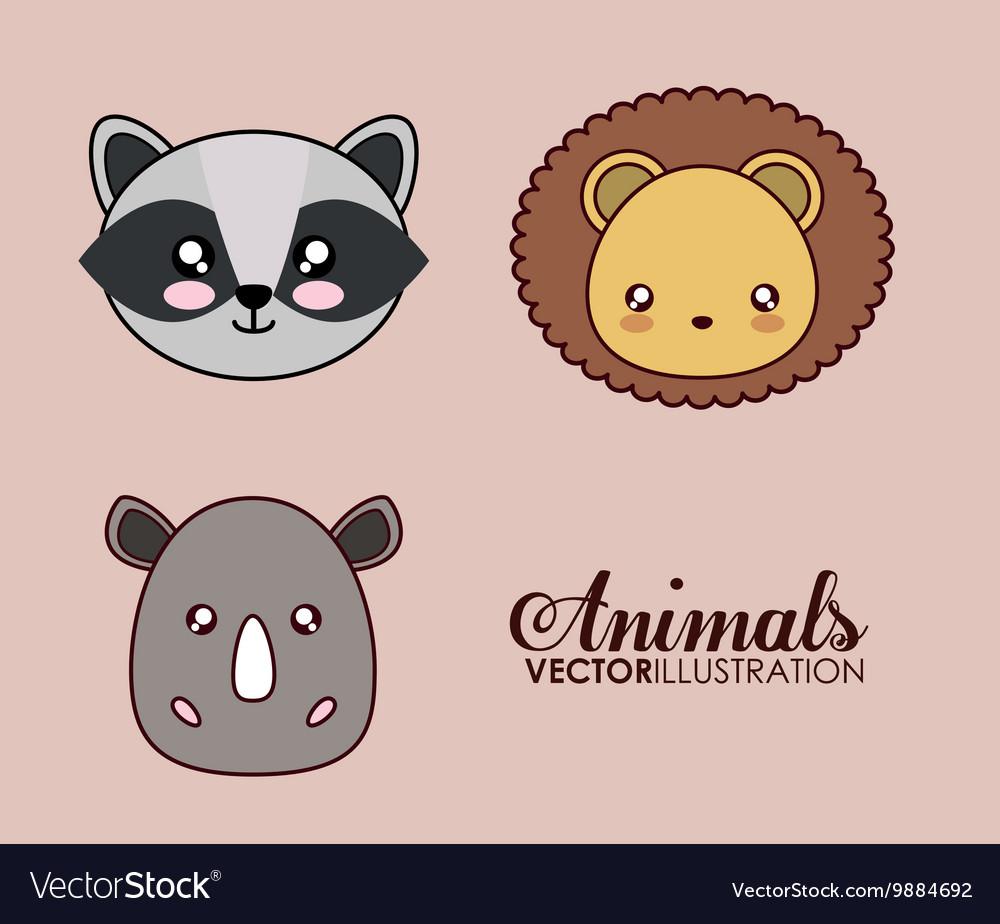 Kawaii lion raccoon and rhino icon