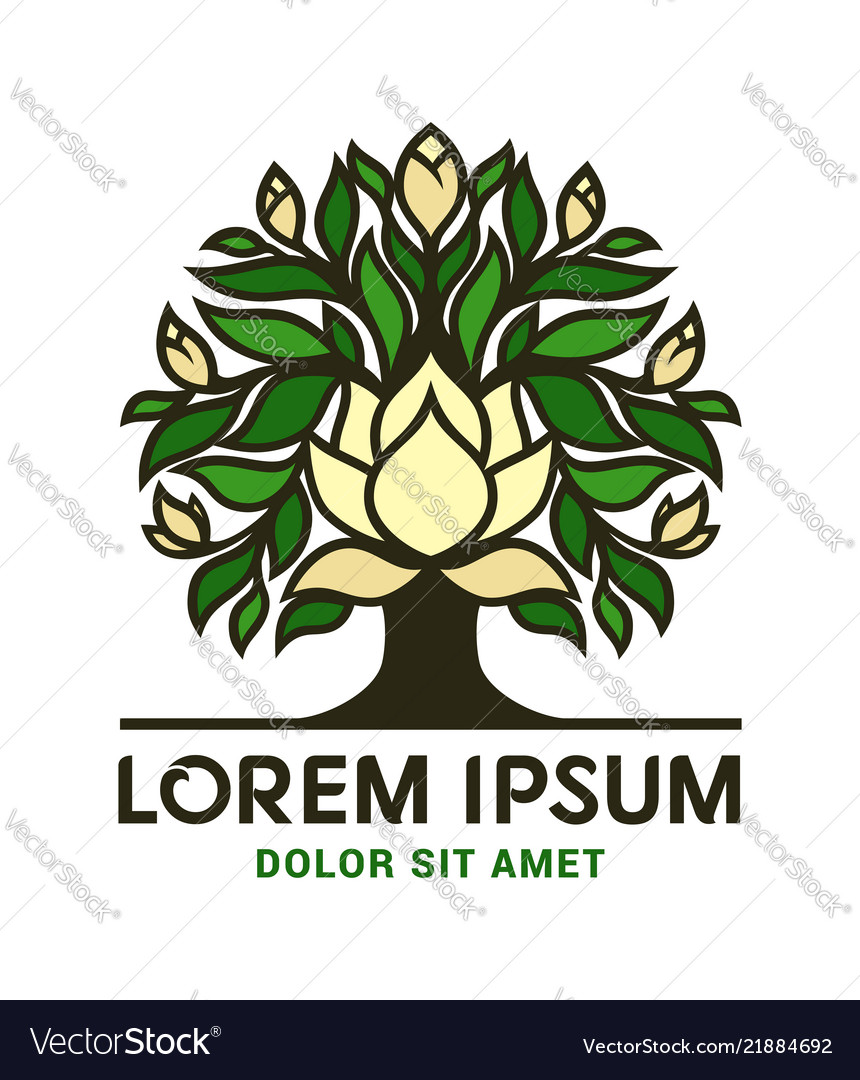 Magnolia tree icon with big flowers and buds