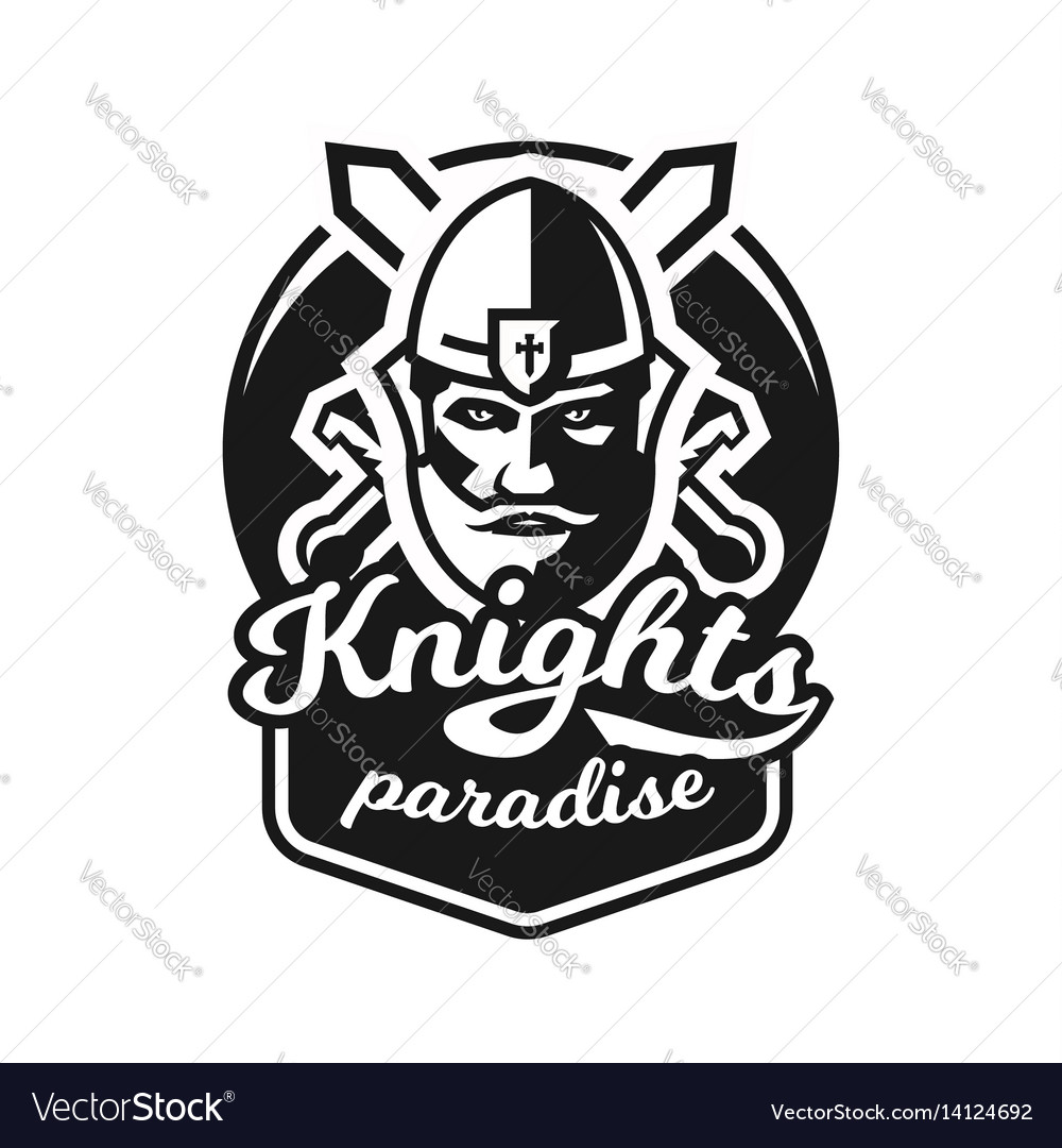 Monochrome logo emblem knight in helmet against