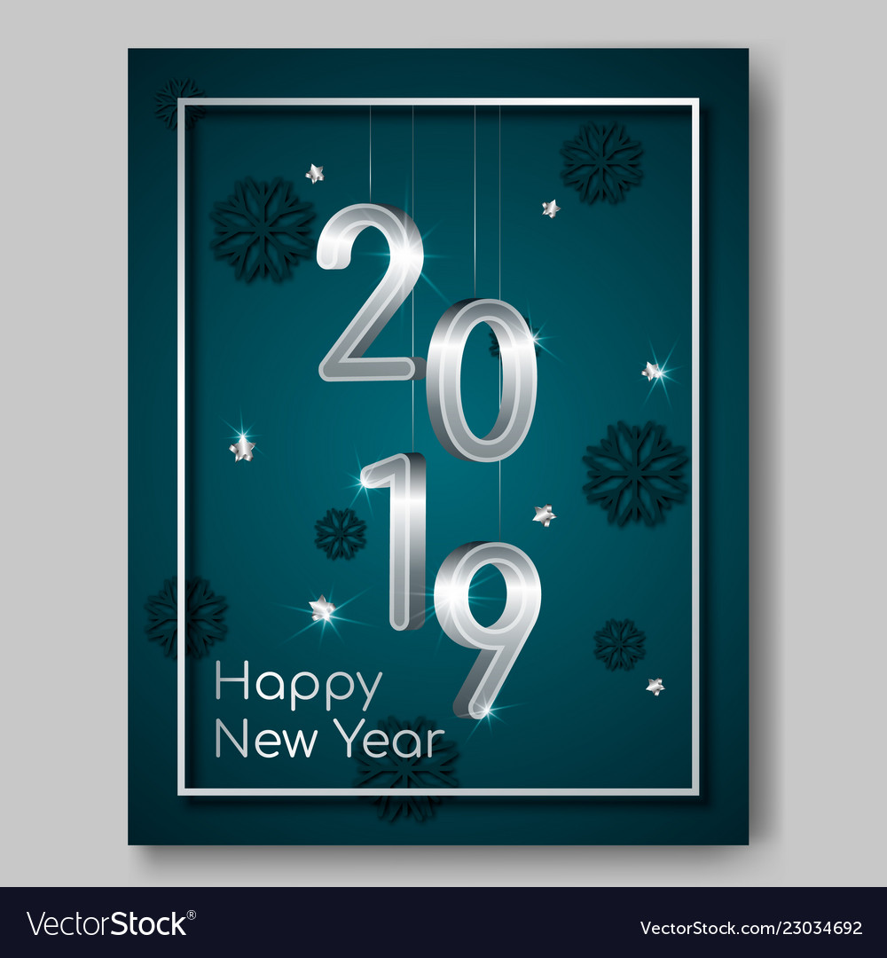 New year night flyer banner with silver 3d numbers