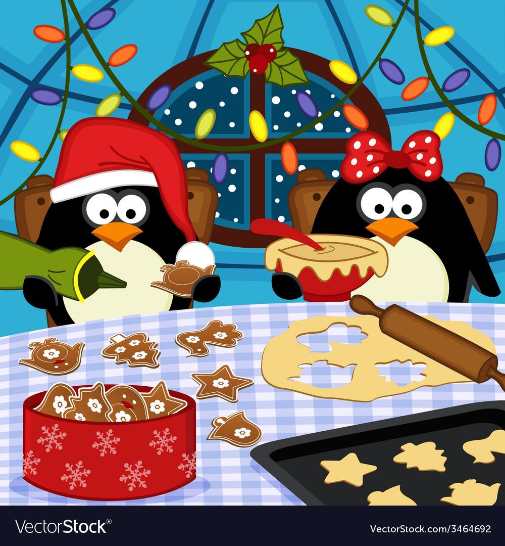 Penguins Bake Christmas Cookies