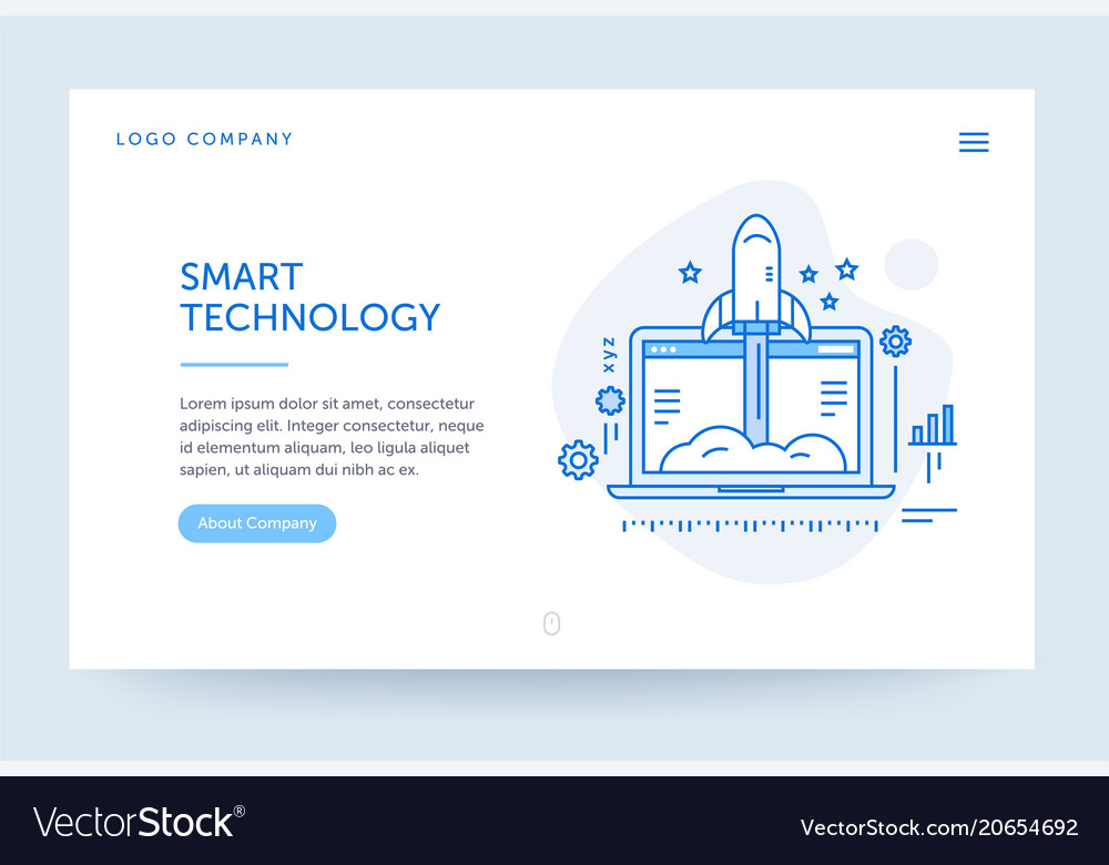 Startup company web banner blue