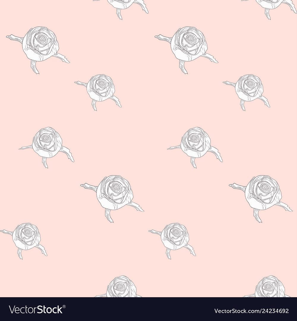 Subtle seamless pattern with drawn florals