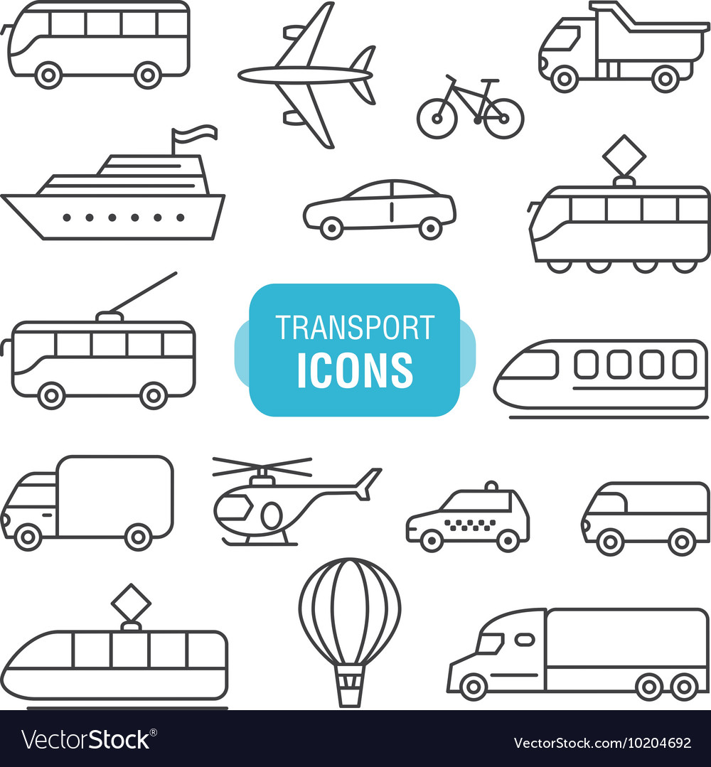 Transportation line icons set