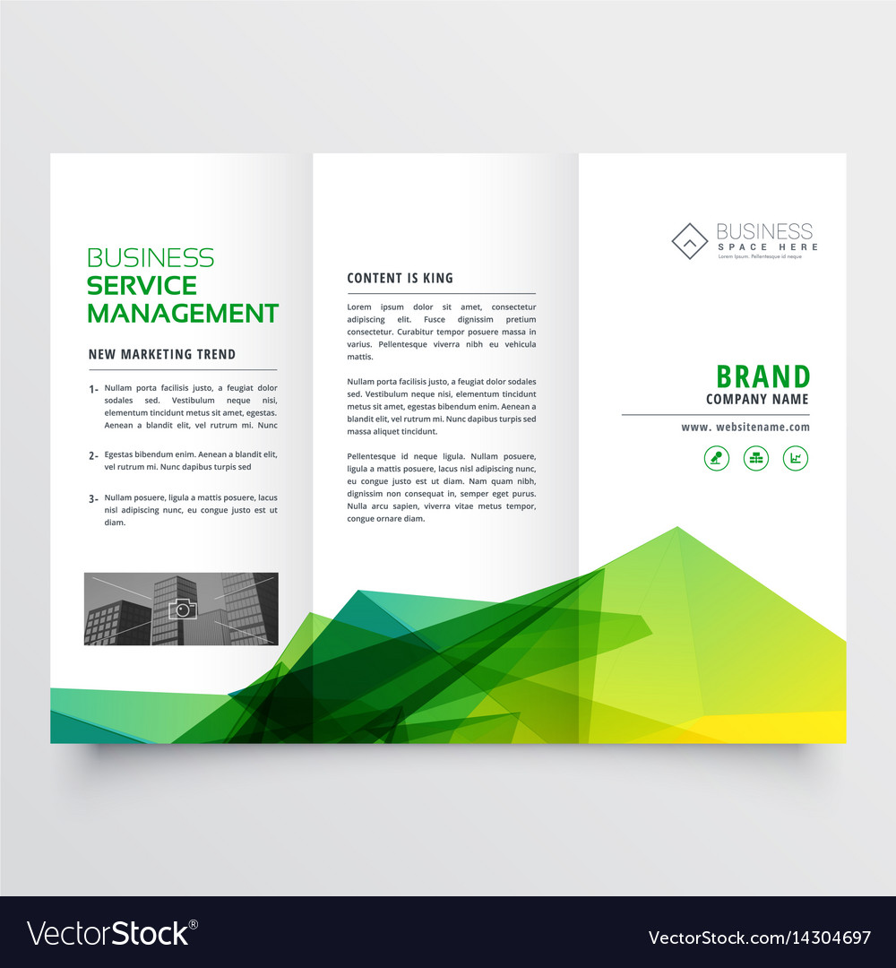 abstract green creative tri fold brochure flyer vector image