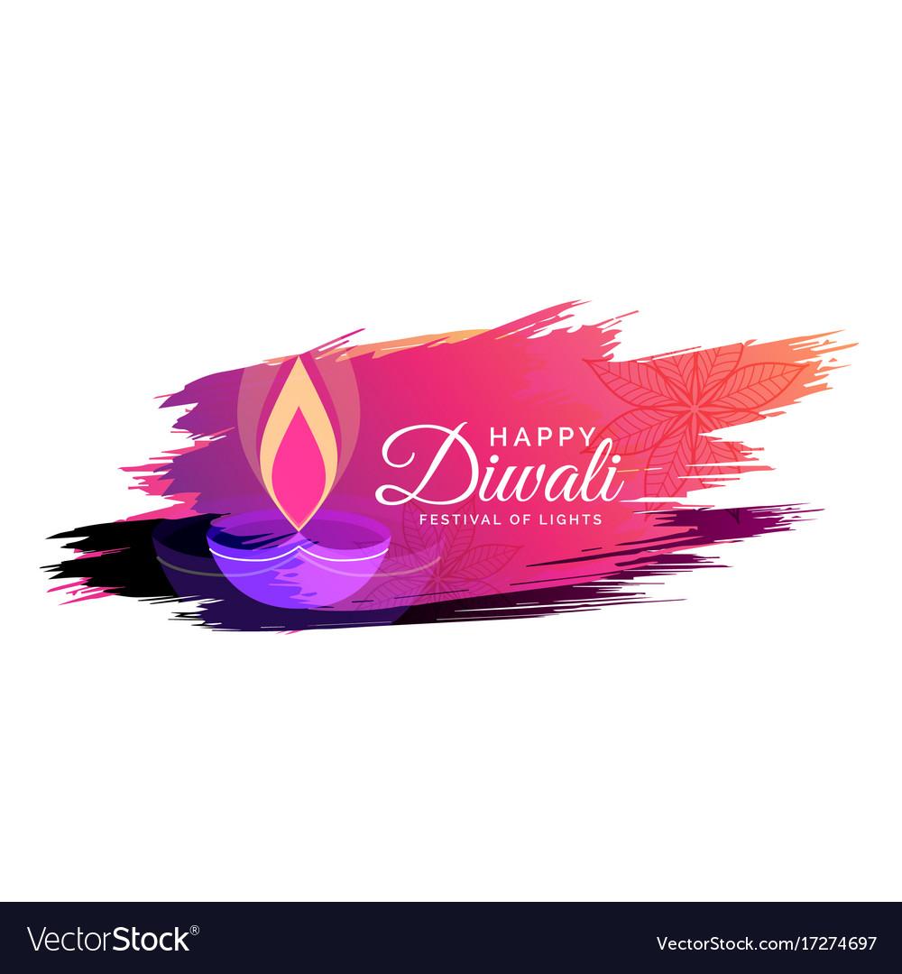 Creative watercolor diwali festival greeting card
