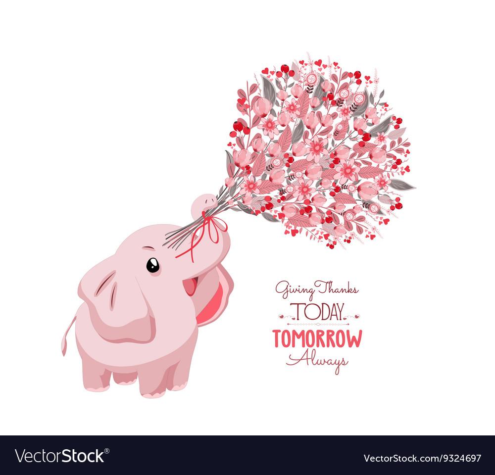 Cute card with lovely elephant elephant with a